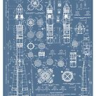Vintage Soyuz Rocket Blueprints Russian Soviet Era Space  by Robert Cook