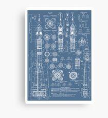 Lienzo Vintage Soyuz Rocket Blueprints Russian Soviet Era Space