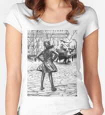 Fearless Girl And Wall Street Bull Statue - New York Fitted Scoop T-Shirt