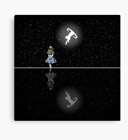 Siga El Conejo Blanco - Noche Estrellada Lienzo