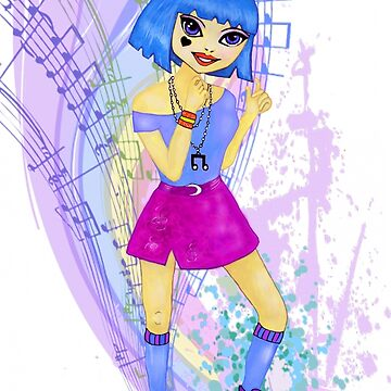 Dancing fashion model manga anime illustration design with blue bright hair  by MNA-Art