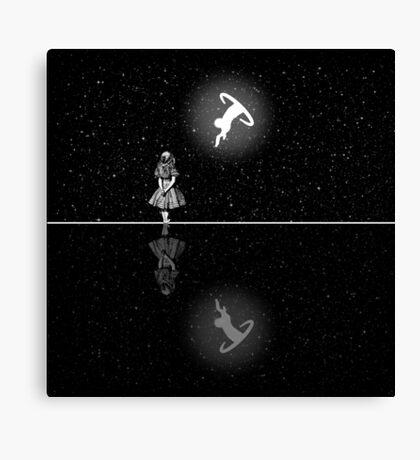 FollowThe White Rabbit - Noche estrellada - Blanco y negro Lienzo
