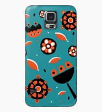 Retro turquoise and orange floral design Case/Skin for Samsung Galaxy