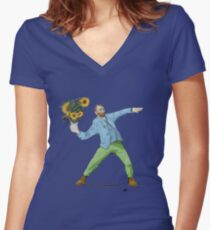 Van Goghsky Women's Fitted V-Neck T-Shirt