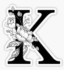K botanisches Monogramm. Detaillierte Pfingstrose Zeichnung Sticker