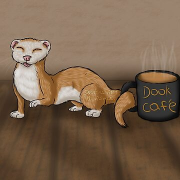 Ferret with a coffee mug by Fennic
