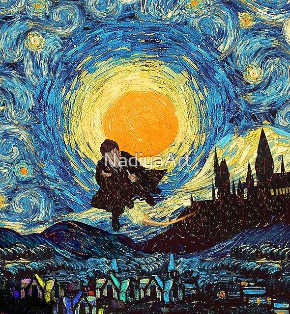 Flying wizard at starry night by NadiyaArt