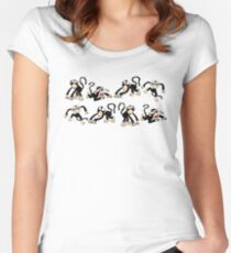 Crazy Monkey Pattern Fitted Scoop T-Shirt