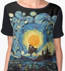 Flying wizard at starry night Chiffon Top