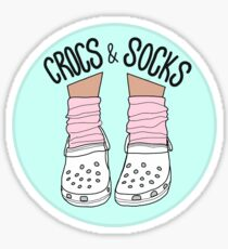 White Crocs and Socks Sticker