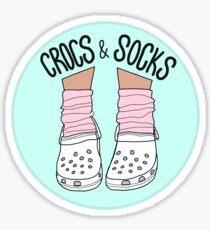 White Crocs and Socks Sticker