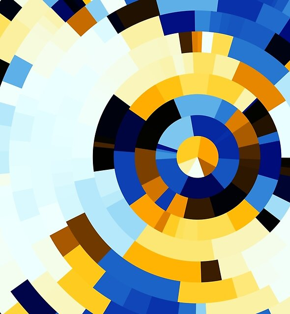 Blue white concentric rings by Rupert Russell