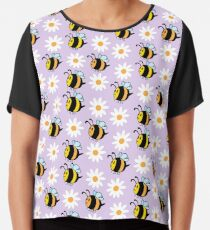 Chubby Bees With Daisies  Chiffon Top