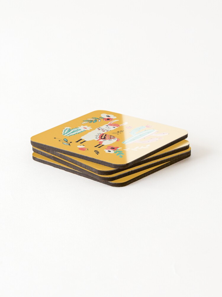 Alternate view of White Llama with flowers Coasters (Set of 4)