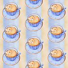 Cat in Coffee on blue orange stripes by Mariana Musa