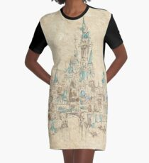 Enchanted Storybook Castle Graphic T-Shirt Dress