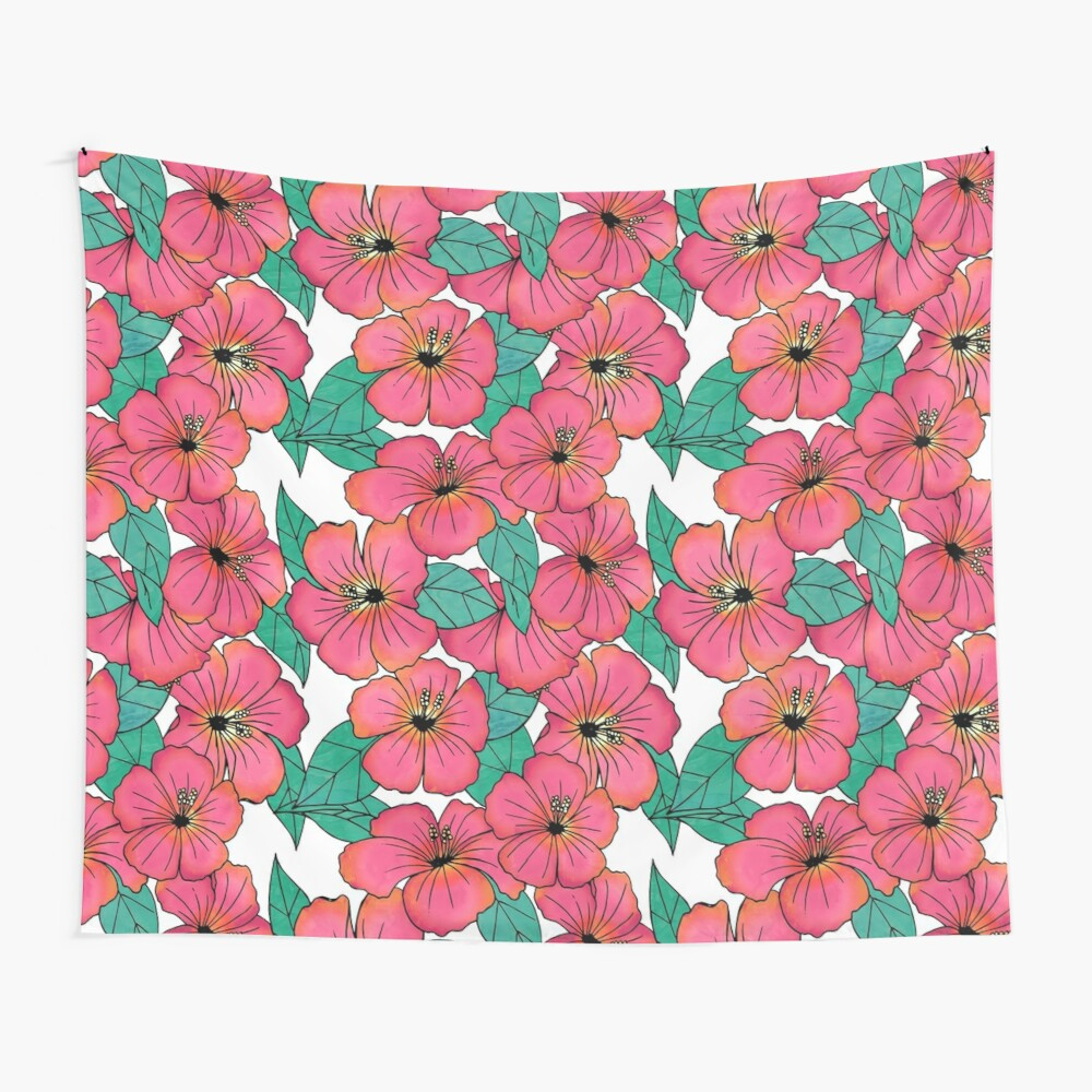 Tropical Floral Pink Hibiscus Pattern Wall Tapestry