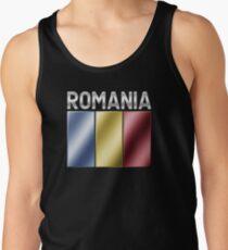Romania - Romanian Flag & Text - Metallic Tank Top