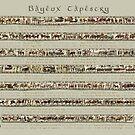 Bayeux Tapestry volle Szenen auf beige Hintergrund von KATIUSKA