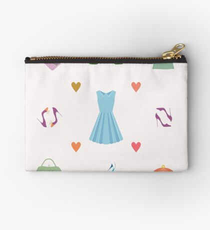 Seamless pattern of dress, shoes, handbags, hearts Zipper Pouch