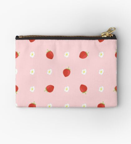 Seamless Background of Strawberries with Leaves and Flowers Zipper Pouch