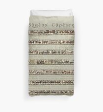 Bayeux Tapestry Full Scenes On Beige Background Duvet Cover
