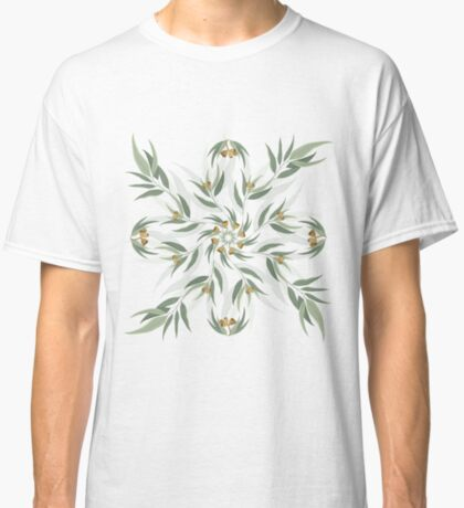 Circular pattern of eucalyptus leaves and seeds Classic T-Shirt