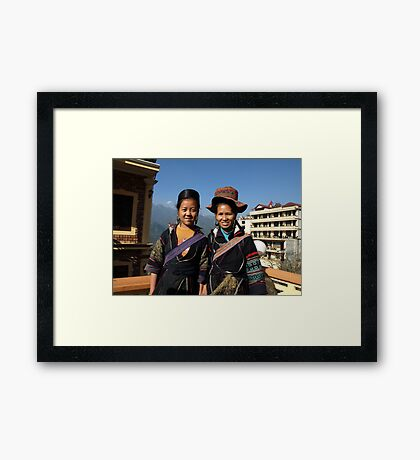 Black H'mong tribeswomen in Sapa, North Vietnam Framed Print