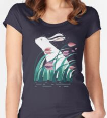 Kaninchen, ruhend Tailliertes Rundhals-Shirt