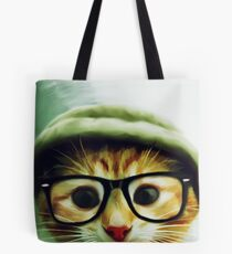 Vintage Cat Wearing Glasses Tote Bag