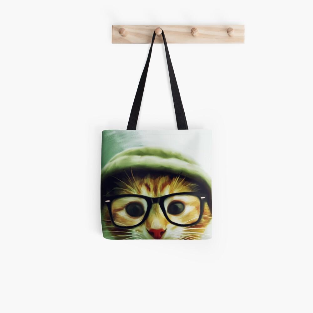 Vintage Katze mit Brille Stofftasche