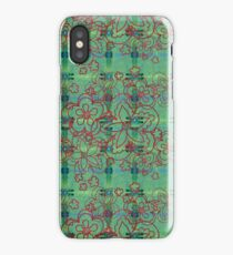 red flowers on green watercolor iPhone Case/Skin