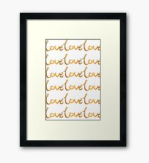 Collections Gold Love Heart Romance Happy Couple Girly Text, Typography - Gold Text and White Background Framed Print
