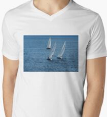Into The Wind - Crisp White Sails On a Caribbean Blue T-Shirt