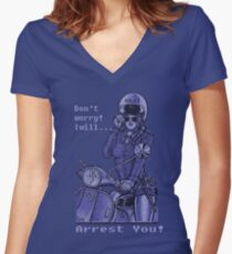 Sexy Policewoman Funny Design Women's Fitted V-Neck T-Shirt