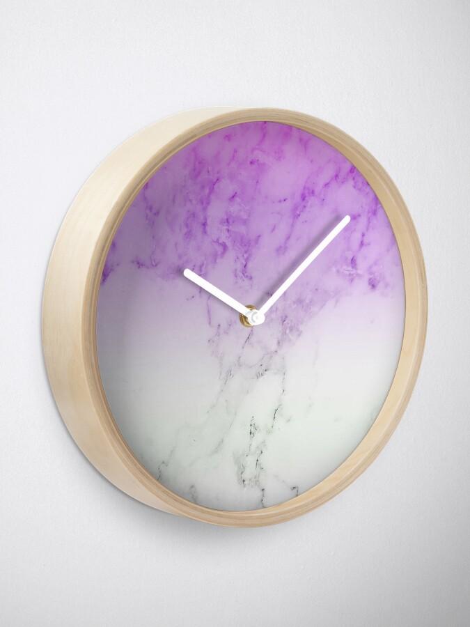 Purple Marble Wallpaper Clock By Warddt Redbubble