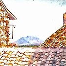 Glimpse Between The Roofs With Landscape And Mountain by Giuseppe Cocco