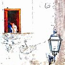 Streetlight And Woman On The Landing by Giuseppe Cocco