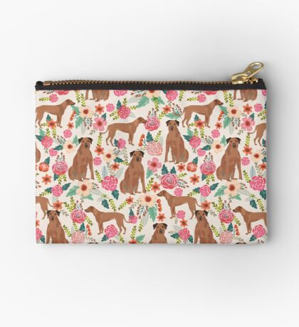 Rhodesian Ridgeback floral dog breed gifts pure breed must have dog pattern Zipper Pouch