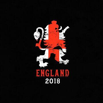 England 2018 - UK Soccer Team Vintage by crouchingpixel