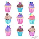 Colorful watercolor cupcakes by AnnaWolfArt
