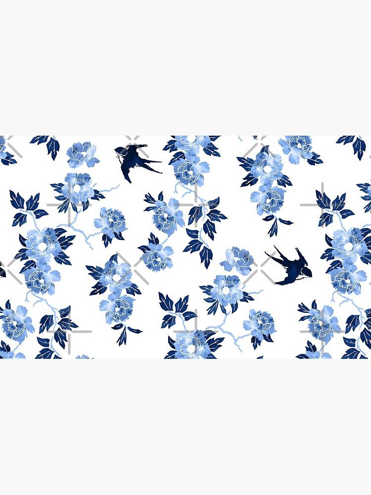 Oriental peonies in sapphire blue by adenaJ
