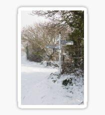Snowy Cornish Signpost Sticker