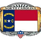 North Carolina Art Deco Design with Flag by Cleave