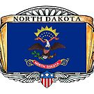 North Dakota Art Deco Design with Flag by Cleave