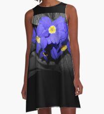 indigo primroses closeup 03/09/18 A-Line Dress