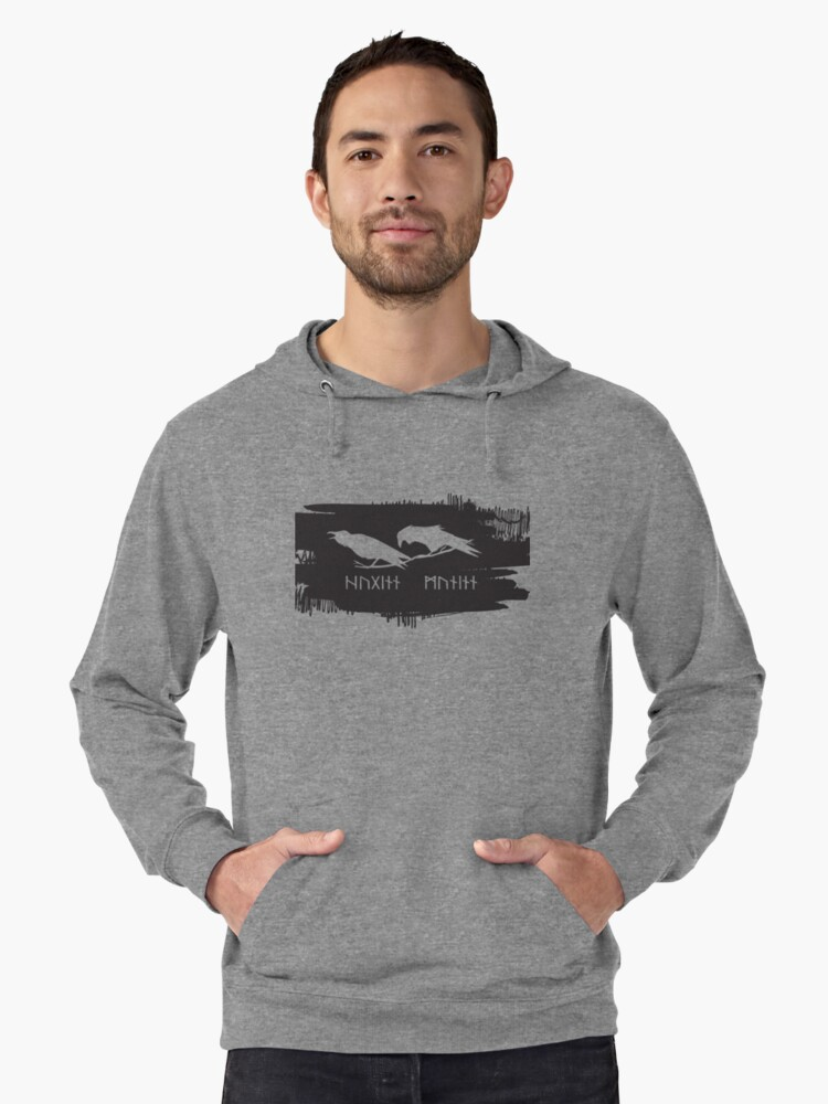 'Hugin and Munin Odin's Ravens/Crows with Runic names Norse Viking  Mythology on black ink' Lightweight Hoodie by iresist