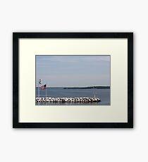 Rock Pier on Lake Michigan Framed Print