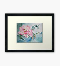 Original watercolor painting of lotus and dragonfly Framed Print