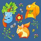 Woodland Fun blue by Mariana Musa